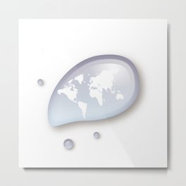 World reflected in the drop of water Metal Print