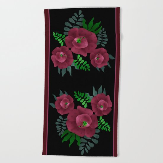 Burgundy roses. Beach Towel