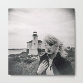 Girl in the Wind at Coquille River Lighthouse - Bandon, Oregon Black and White Photograph Metal Print