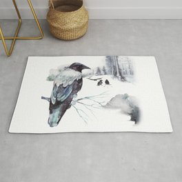 Cryptical Crows In The Whispering Winter Woods Rug