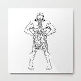 Hercules Hold Bottle Octopus Inside Drawing Black and White Metal Print