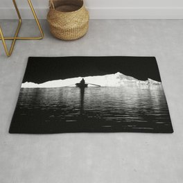 Silhouette Rowing Boat River Cave Tam Coc Vietnam Rug