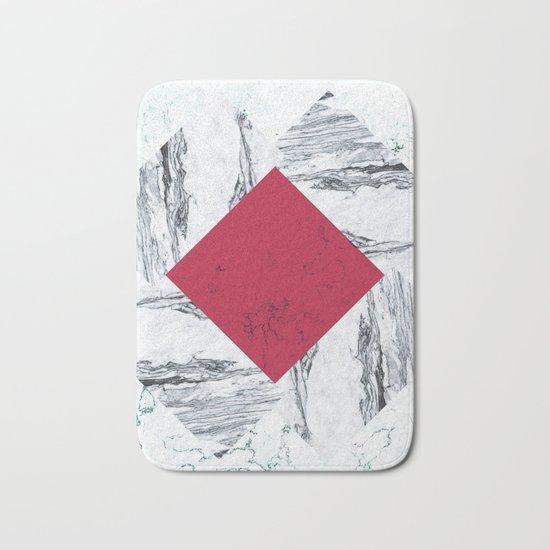 Red + Marble Bath Mat