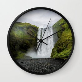 Skogafoss Waterfall Iceland Wall Clock