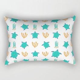Cute turquoise orange turtle nautical coral reef floral Rectangular Pillow