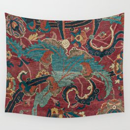 Flowery Arabic Rug I // 17th Century Colorful Plum Red Light Teal Sapphire Navy Blue Ornate Pattern Wall Tapestry