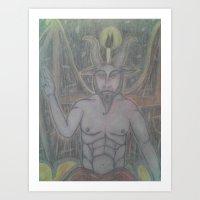 baphomet Art Prints featuring BAPHOMET by Kathead Tarot/David Rivera