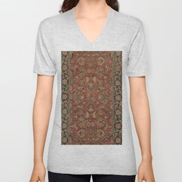 Flowery Boho Rug I // 17th Century Distressed Colorful Red Navy Blue Burlap Tan Ornate Accent Patter Unisex V-Neck