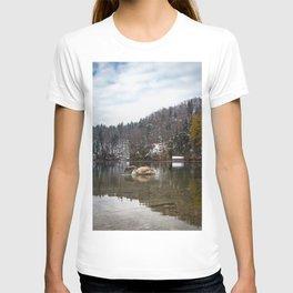 Beautiful scene of swan (lat. Cygnus olor) on the lake T-shirt