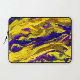 OIL ABSTRACT PAINTING - PLAY OF YELLOW AND BLUE Laptop Sleeve