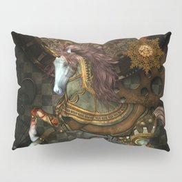 Steampunk,mystical steampunk unicorn Pillow Sham