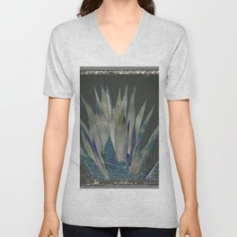 GRUBBY GREY ANTIQUE AGAVE CACTUS PIC Unisex V-Neck