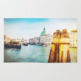 The Pier of Venice watercolor Rug