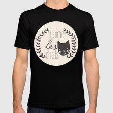 j'aime les chats Black Mens Fitted Tee MEDIUM