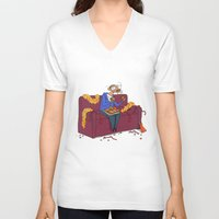 percy jackson V-neck T-shirts featuring Percy eating appelflappen by Natali Voorthuis