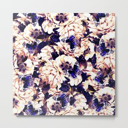 night and day flowers butterflies pattern late sunset Metal Print