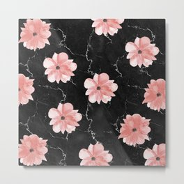 Romantic Pink Watercolor Flowers on Black Marble Metal Print