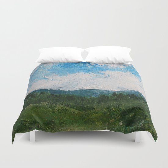 A Forest Under Blue Skies Impasto Painting Duvet Cover