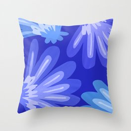 Indigo Folk Floral Throw Pillow