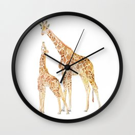 Mother and Baby Giraffes Wall Clock