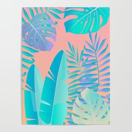 Tropics ( monstera and banana leaf pattern ) Poster