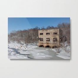 Snowy Pumphouse Metal Print