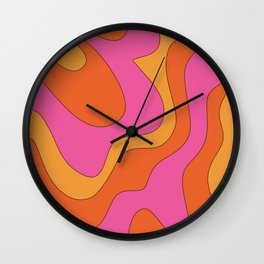 Groovy 60's and 70's Retro Pattern Wall Clock