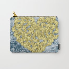 Gold butterflies in heart shape on teal web Carry-All Pouch