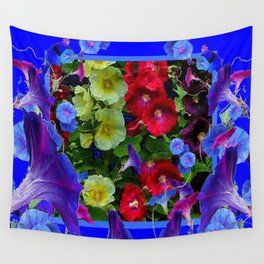 HOLLYHOCKS & MORNING GLORIES COTTAGE BLUE ART Wall Tapestry