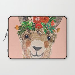 Llama with Flower Crown by Mia Charro Laptop Sleeve