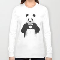 bear Long Sleeve T-shirts featuring All you need is love by Balazs Solti