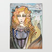 black widow Canvas Prints featuring Widow by Aleksandra Jevtovic