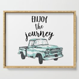 """Enjoy the Journey"" Quote and Vintage Truck Serving Tray"