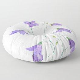 purple wildflower harebell watercolor Floor Pillow