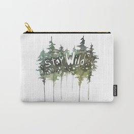 Stay Wild - pine tree stencil words art print Carry-All Pouch