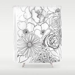 Flower Bouquet Black and White Illustration Shower Curtain