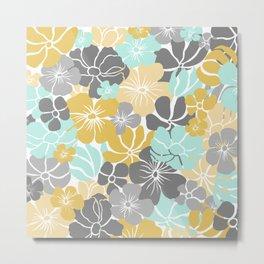 Fun, Floral Prints, Yellow, Aqua, Gray, Colour Prints Metal Print