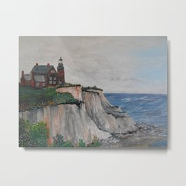 Block Island Lighthouse and Mohegan Cliffs Metal Print