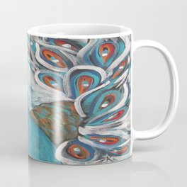 Blue Peacock with Blue Coffee Mug