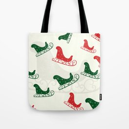 Sled Pattern Green and Red on a Ivory Background Tote Bag
