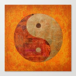 Yin and Yang original collage painting Canvas Print