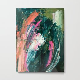 Meditate [1]: a vibrant, colorful abstract piece in bright green, teal, pink, orange, and white Metal Print