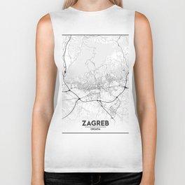 Minimal City Maps - Map of Zagreb Biker Tank