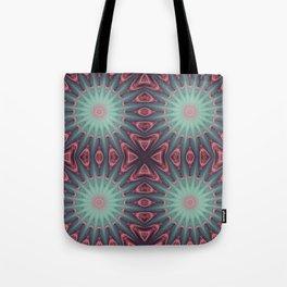 Mauve & teal starburst Mandala Tote Bag