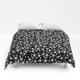 Hand Printed Black and White Stars Comforters