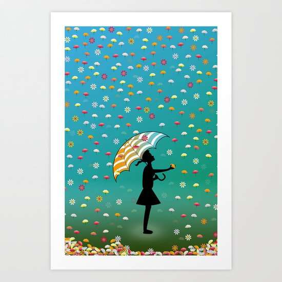 It's Raining Flowers Art Print