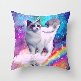 unicorn cat spece crazy cat rainow Throw Pillow