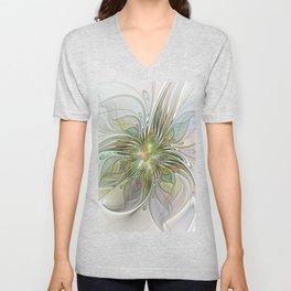 Floral Fantasy, Abstract Fractal Art Unisex V-Neck