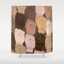 NO Racism ! Vector raised fists, power to the people, Vector seamless pattern Shower Curtain