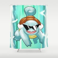 squirtle Shower Curtains featuring Squirtle Squad by Patrick Towers